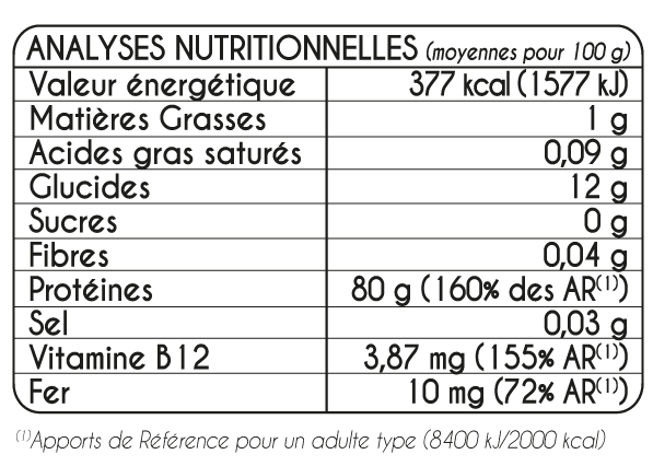 Tableau Nutritionel Super Cure VEGAN BIodyne